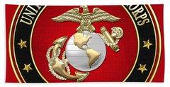 U S M C Eagle Globe And Anchor - E G A On Red Velvet Beach Towel