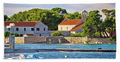 Ugljan Island Village Old Church And Beach View Beach Sheet by Brch Photography