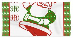 Ugly Christmas Sweater Santa-a Beach Towel