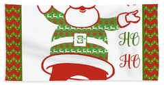 Ugly Christmas Sweater Santa-b Beach Towel