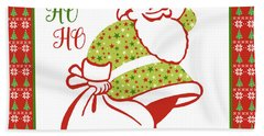 Ugly Christmas Sweater Santa-c Beach Towel