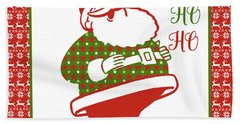 Ugly Christmas Sweater Santa-d Beach Towel