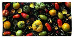 Heirloom Tomato Patterns Beach Towel