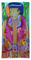 Beach Towel featuring the painting Ukulele Four Strings by Denise Weaver Ross