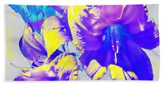 Beach Towel featuring the photograph Ultraviolet Daylilies by Shawna Rowe