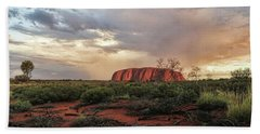 Uluru In The Distance Beach Towel