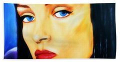 Beach Towel featuring the painting Uma Thurman In Pulp Fiction by Bob Baker