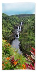 Umauma Falls Hawaii Beach Towel