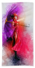 Umbrella Girl Beach Towel