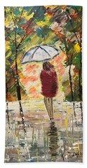 Umbrella Girl Beach Towel