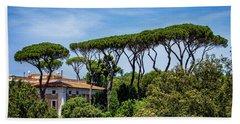 Umbrella Trees In Rome Beach Towel
