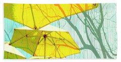 Umbrellas Yellow Beach Towel by Deborah Nakano