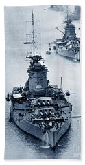 Hms Nelson And Hms Rodney Battleships And Battlecruisers Hms Hood Circa 1941 Beach Sheet by California Views Mr Pat Hathaway Archives
