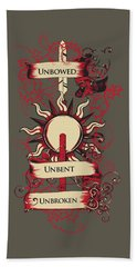 Unbowed Unbent Unbroken Beach Towel