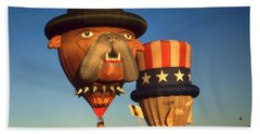 Uncle Sam And Bull Dog - Hot Air Balloons Beach Towel