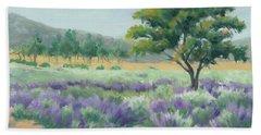 Under Blue Skies In Lavender Fields Beach Sheet by Sandy Fisher