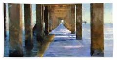 Under The Galvaston Pier Beach Sheet by Cedric Hampton