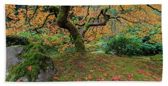 Under The Japanese Mape Tree In Fall Season Beach Towel