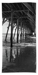 Beach Towel featuring the photograph Under The Pier At Myrtle Beach by Kelly Hazel
