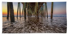 Beach Towel featuring the photograph Under The Pier At Old Orchard Beach by Rick Berk