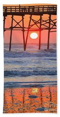 Under The Pier - Sunset Beach Towel by Shelia Kempf