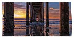 Under The Scripps Pier Beach Sheet by Sam Antonio Photography