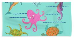 Under The Sea, Pink Octopus Beach Towel