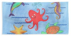 Under The Sea, Red Octopus Beach Towel