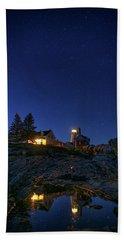 Under The Stars At Pemaquid Point Beach Towel by Rick Berk