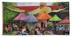 Beach Towel featuring the painting Under The Umbrellas At The Cartecay Vineyard - Crush Festival  by Jan Dappen