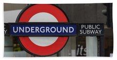 Underground Sign London Beach Towel