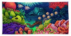 Beach Towel featuring the painting Undersea Creatures Vii by Michael Frank