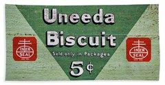 Uneeda Biscuit Vintage Sign Beach Sheet