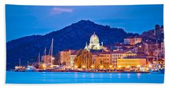 Unesco Town Of Sibenik Blue Hour View Beach Sheet by Brch Photography