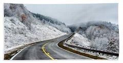 Unexpected Autumn Snow Highway Beach Towel by Thomas R Fletcher