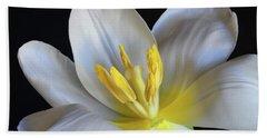 Unfolding Tulip. Beach Sheet by Terence Davis