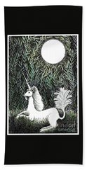 Beach Towel featuring the drawing Unicorn In Moonlight by Lise Winne