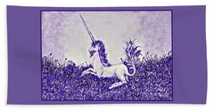 Unicorn In Purple Beach Towel