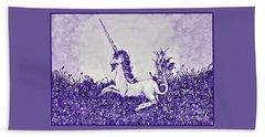 Unicorn In Purple Beach Towel by Lise Winne