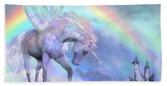 Unicorn Of The Rainbow Beach Sheet by Carol Cavalaris