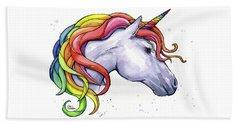 Unicorn With Rainbow Mane Beach Towel