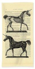 Unicorns Anatomy Beach Towel by Madame Memento