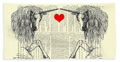 Unicorns Love Beach Towel by Madame Memento