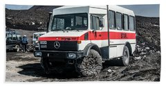Unimog On Mt. Etna Beach Sheet by Patrick Boening