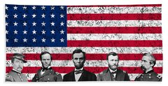 Union Heroes And The American Flag Beach Towel by War Is Hell Store