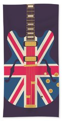 Union Jack Guitar - Original Black Beach Towel