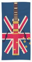 Union Jack Guitar - Original Blue Beach Towel