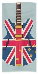 Union Jack Guitar - Original Grey Beach Towel
