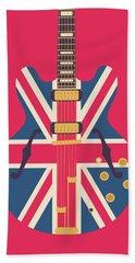 Union Jack Guitar - Original Red Beach Towel