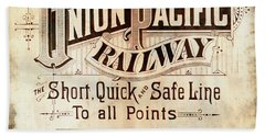 Beach Towel featuring the mixed media Union Pacific Railroad - Gateway To The West  1883 by Daniel Hagerman